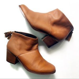 Toms Brown Lelia Leather Ankle Booties